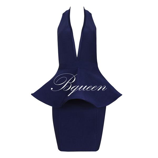dress dress blue bqueen fashion girl bandage party evening dress sleeveless sexy halter neck hem chic slim
