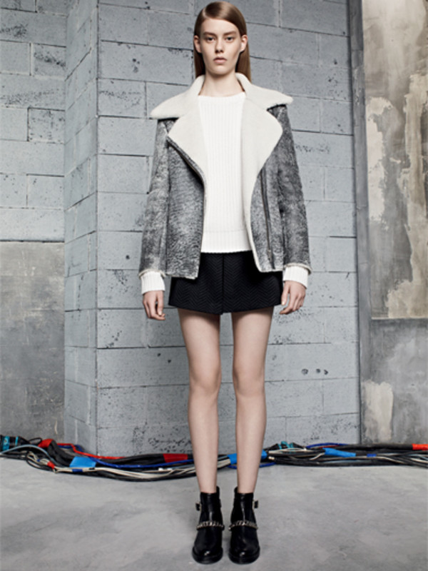 jacket sandro lookbook grey sweater skirt