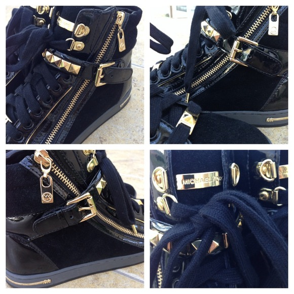 761f0c5f00024 Michael Kors - NEW Michael Kors Black Gold Stud High Top Sneakers ...