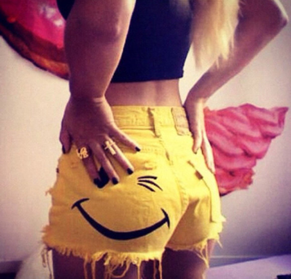 yellow summer shorts wink smile
