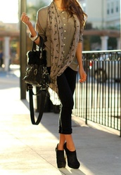 bag,black,scarf,cross,boots,heels,shirt,bracelets,shamballa bracelet