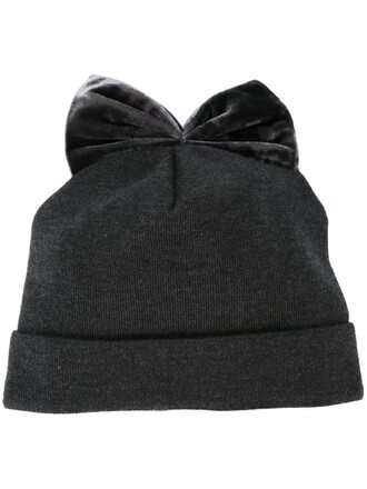 bow beanie grey hat
