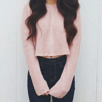 sweater top pink cute light pink
