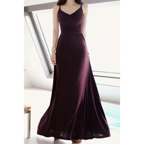 dress long dress elegant fashion style evening dress beautiful purple rosewholesale.com