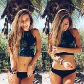 swimwear,halter neck,tumblr outfit,tropical,summer top,summer holidays,beach,shirt,tumblr,cute,green,sun,summer,crop,crop tops,bikini,black tropical copped halter,top,cropped bikini,bikini top,cropped bikini set,bikini bottoms,floral bikini,black,halter top,two-piece