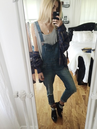 overalls jumpsuit denim overalls striped shirt blouse
