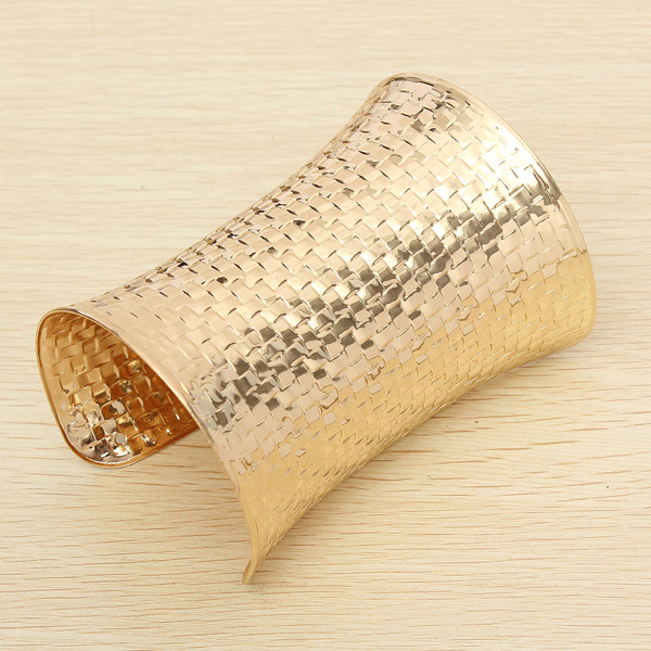 Gold plated metal wide opened cuff bracelet bangle   free shipment