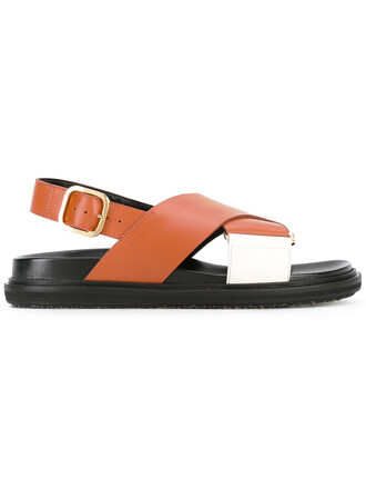 cross women sandals leather brown shoes