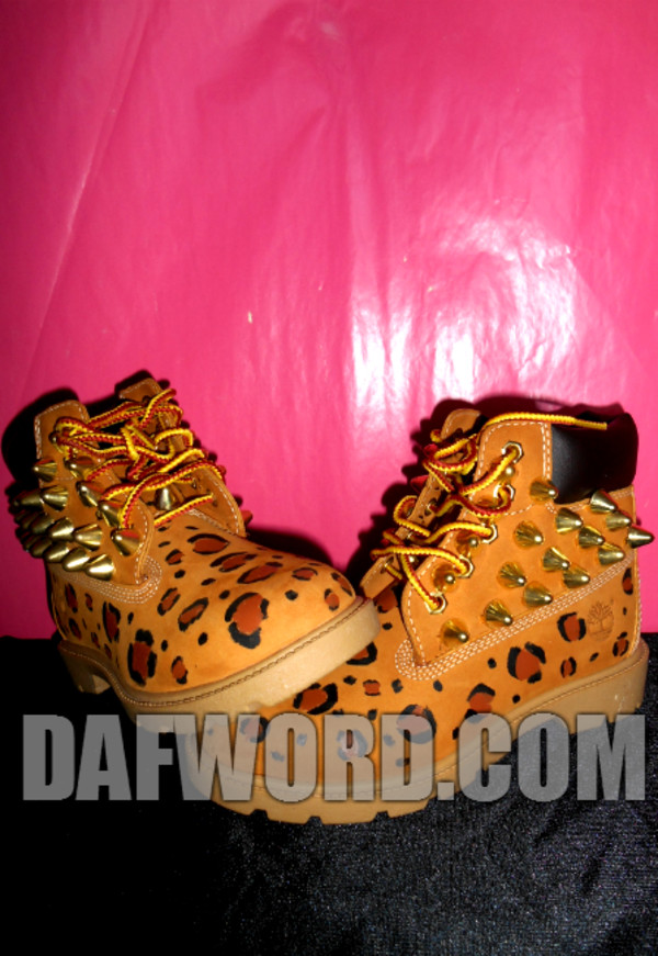 shoes tan spike3 gold spikes timberlands leopard timberlands