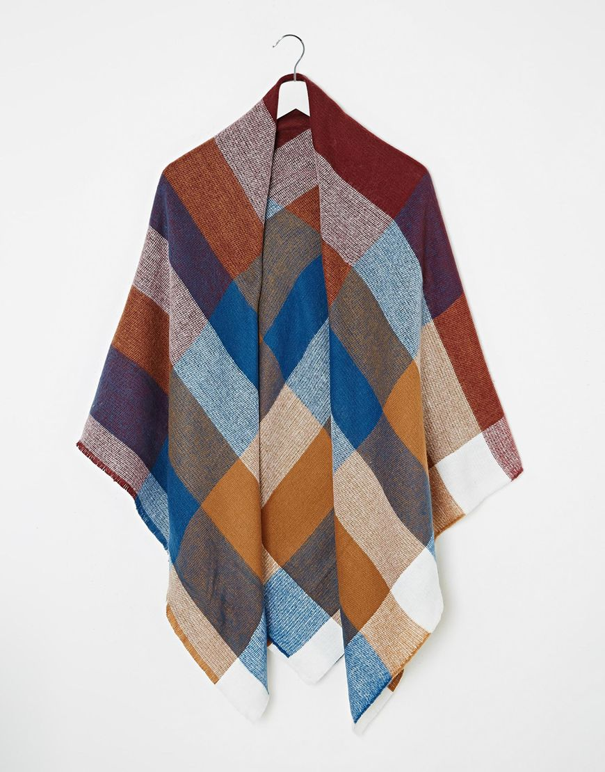 ASOS Oversized Square Scarf In 70s Check at asos.com