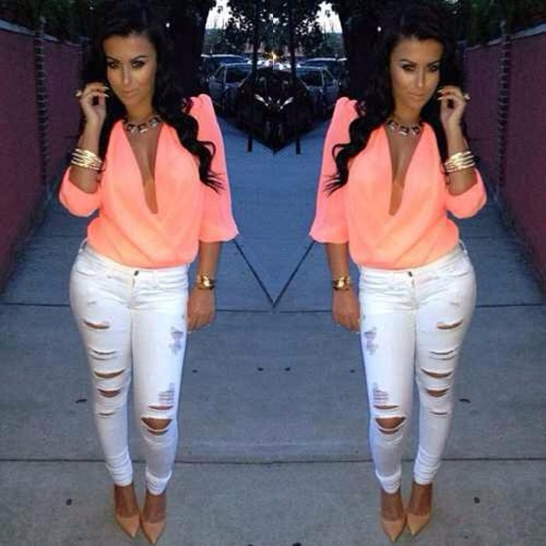 blouse pants peach top plunge v neck