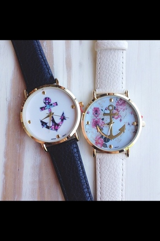 jewels watch cute watch anchor flowers roses floral