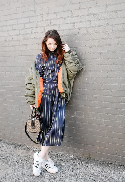 fe16cb45f0e2 sea of shoes blogger striped dress winter outfits bomber jacket army green  khaki bomber jacket designer