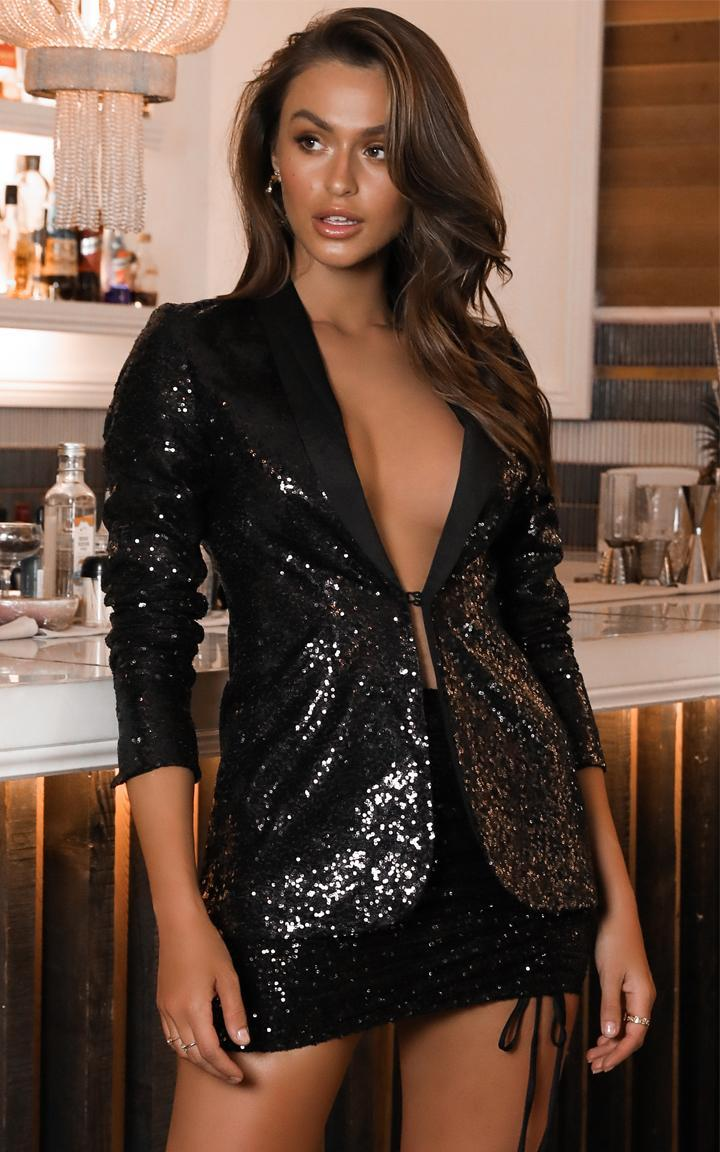Showpo Freestyler blazer in black sequin - 6 (XS) Jackets