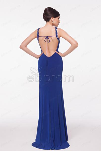 dress, backless prom dress, prom dress open back, royal blue, long ...