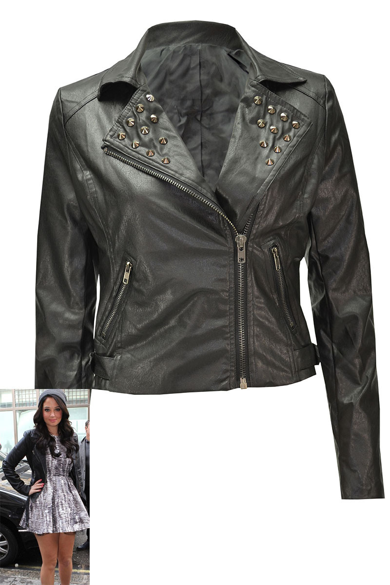 Abilene Faux Leather Jacket with Stud Detailing