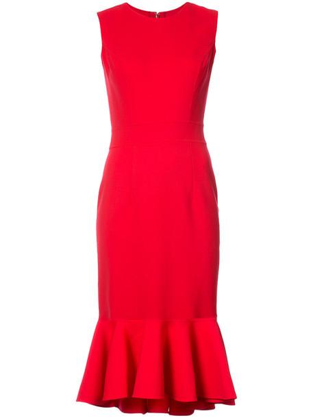 Carolina Herrera dress women silk wool red