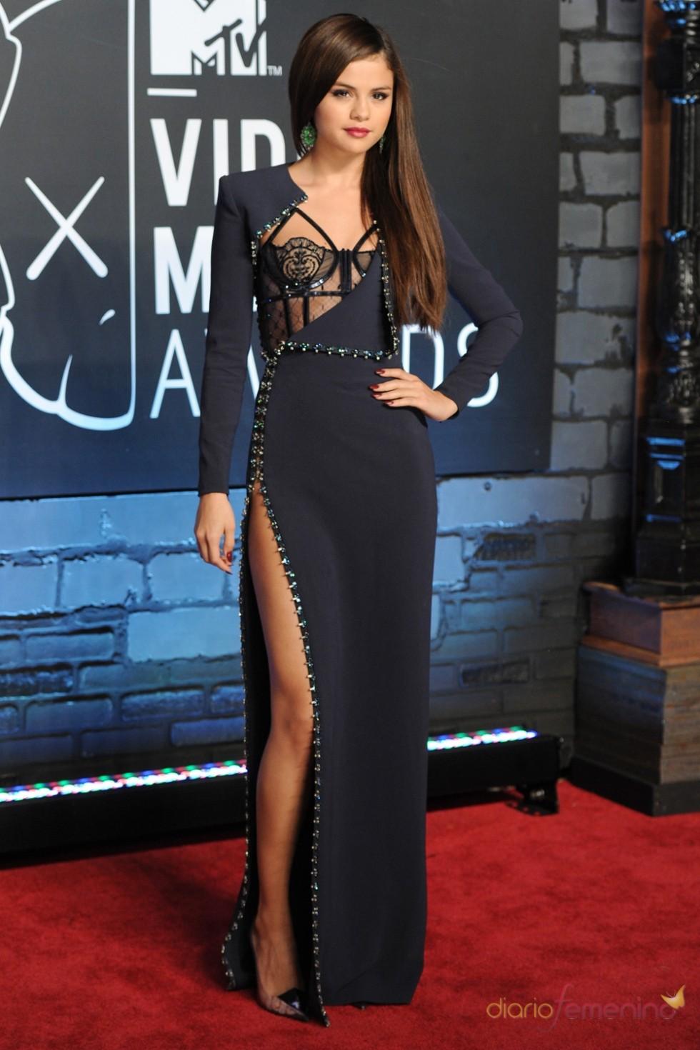 selena gomez navy blue long sleeve celebrity dress mtv