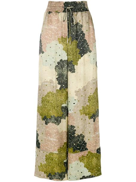 Off-White women floral cotton print green pants