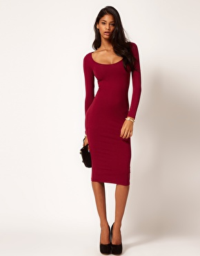 ASOS | ASOS Midi Bodycon Dress with Long Sleeves at ASOS