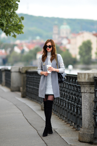 vogue haus blogger dress shoes jacket bag jewels sunglasses grey coat thigh high boots boots chanel bag grey dress spring outfits knitted dress
