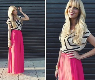 shirt white sweater with multicolor lines lines maxi skirt summer geometric black and white
