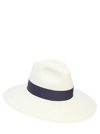 hat white blue