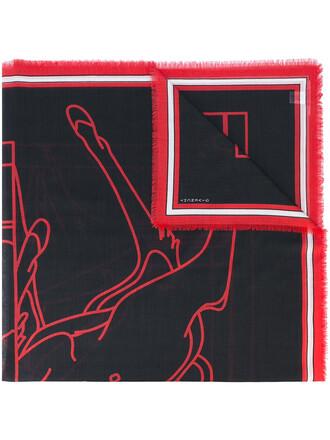 women scarf print black silk wool