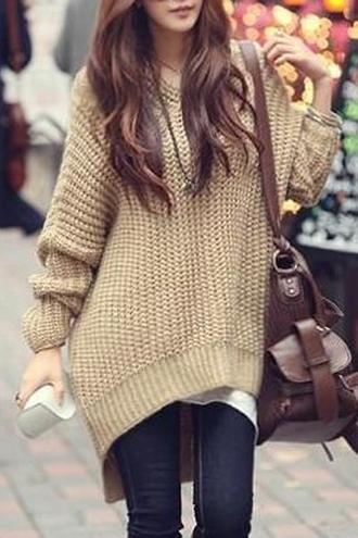 sweater tan knit knitwear sweater dress oversized sweater fall sweater fall outfits