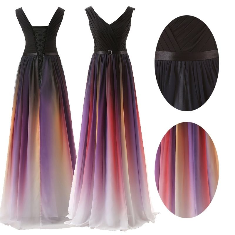 Long Chiffon Formal Evening Party Ball Gowns Plus Size Bridesmaid Dress