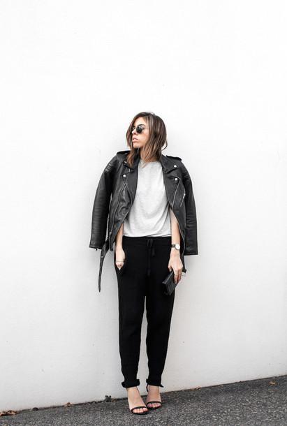 modern legacy blogger jacket sunglasses sweater pants shoes