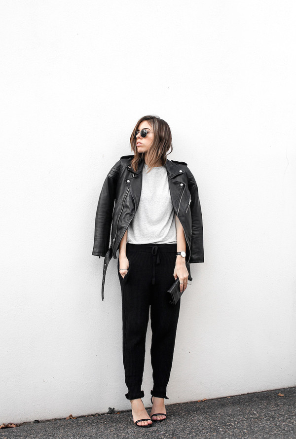 modern legacy blogger jacket sunglasses sweater pants shoes