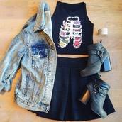 shirt,floral,floral ribcage,grunge,soft grunge,teenagers,denim jacket,skirt,black skirt,black tank top,muscle tee,jacket,shoes