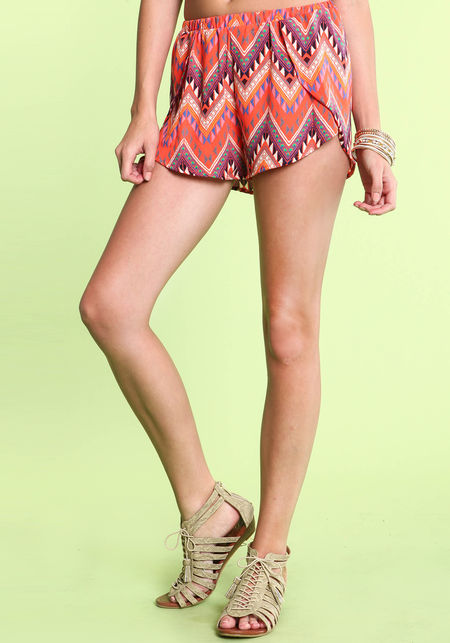 Orange tribal wrap shorts