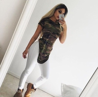 t-shirt top tunic khaki short sleeved tunic top tunic dress camoflouge long camouflage blouse shirt green black white beautiful fashion sexy camo shirt t shirt print jeans