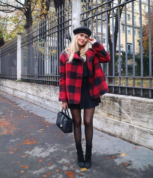 coat tumblr red coat tartan tartan coat beret hat dress black dress tights boots black boots bag