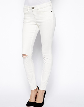 ASOS Whitby Low Rise Skinny Ankle Grazer Jeans in White with ...