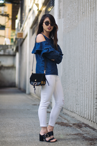 readytwowear blogger top bag jewels shoes make-up denim top cut out shoulder mules white pants shoulder bag spring outfits