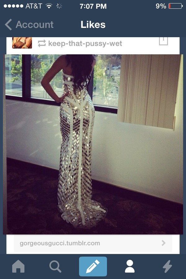 dress silver prom dress
