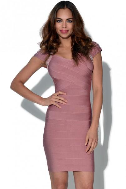 Courtney pink embellished bandage dress