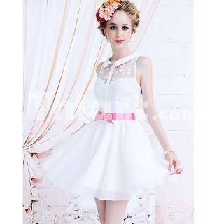 Spliced Lace Waist-slimed Big Hemline Turndown Collar Sleeveless Dress Size White L