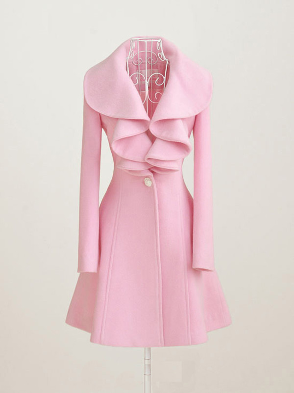 dress coat pink pink coat ruffle ruffle ruffle pastel pink pea coat jacket style fashion paris blush pink pastel sweet