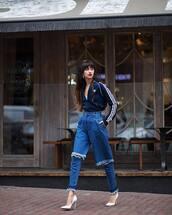 jeans,high waisted jeans,ripped jeans,pumps,high heel pumps,hoodie,hoop earrings