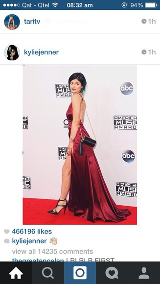 black heels kylie jenner red silk dress keeping up with the kardashians