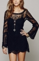 Neck long sleeves lace dress