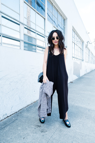 the fancy pants report blogger romper cardigan bag sunglasses jumpsuit black jumpsuit loafers grey cardigan tumblr shoes embroidered mules