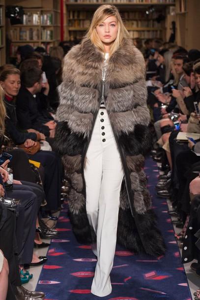 coat fur fur coat gigi hadid fashion fashion week 2015 sonia rykiel