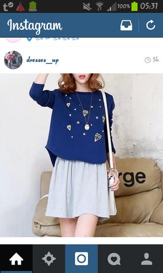 blue sweater diamonds