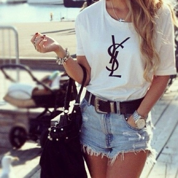 yves saint laurent shirt white tshirt t-shirt clothes shorts