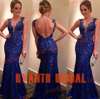 Aliexpress.com : buy rbp454 fashion new 2014 evening dress royal blue mermaid open back beadwork scoop neck women dress prom gown from reliable gowns with long sleeves suppliers on suzhou unique clothing co.,ltd